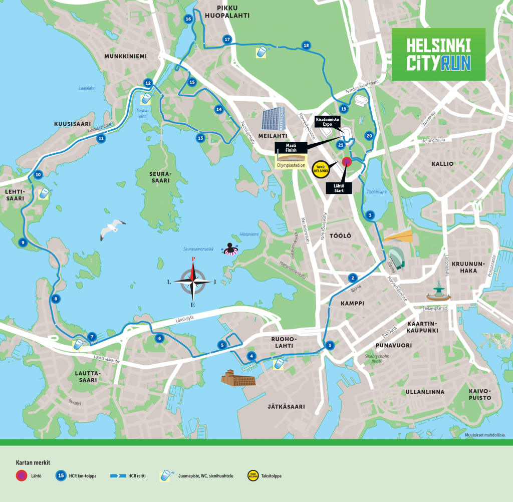 Helsinki city Half Marathon route